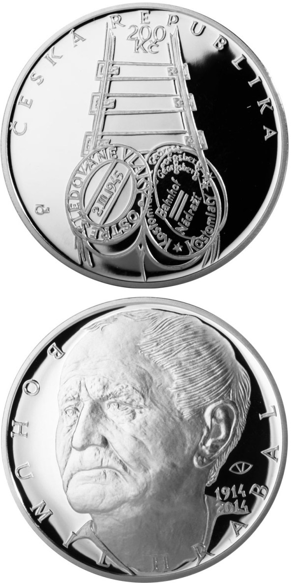 Image of 200 koruna coin - Birth of writer Bohumil Hrabal | Czech Republic 2014.  The Silver coin is of Proof, BU quality.