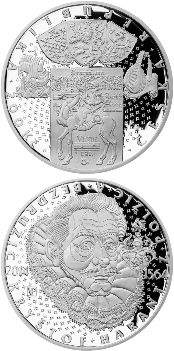 Image of Birth of Czech nobleman Kryštof Harant z Polžic a Bezdružic – 200 koruna coin Czech Republic 2014.  The Silver coin is of Proof, BU quality.