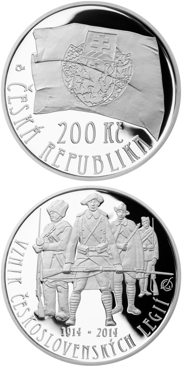 Image of 200 koruna coin Foundation of Czechoslovak legions | Czech Republic 2014.  The Silver coin is of Proof, BU quality.