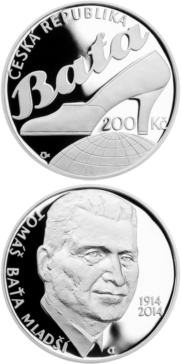 Image of Birth of entrepreneur Tomáš Baťa Jr. – 200 koruna coin Czech Republic 2014.  The Silver coin is of Proof, BU quality.