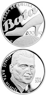 200 korun Birth of entrepreneur Tomáš Baťa Jr. - 2014 - Series: Silver 200 kronen coins - Czech Republic