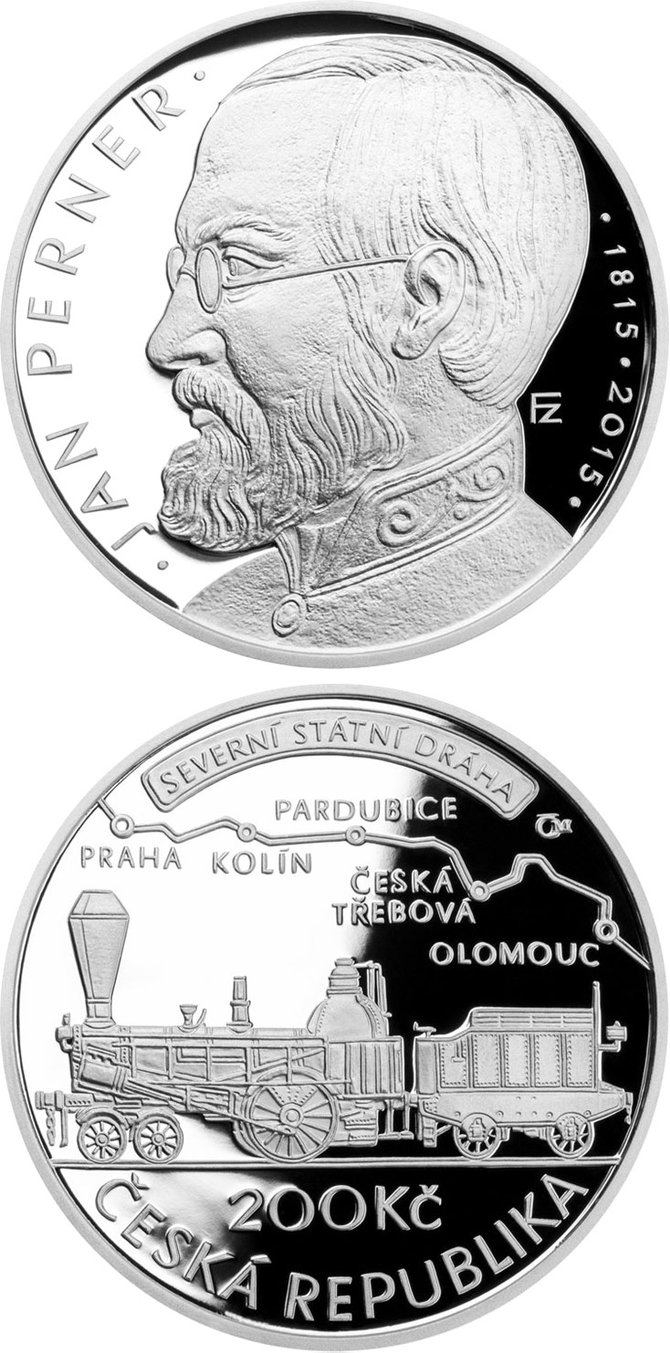 Image of 200 koruna coin – Birth of engineer Jan Perner | Czech Republic 2015.  The Silver coin is of Proof, BU quality.