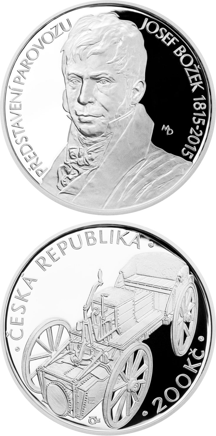 Image of 200 koruna coin – Josef Božek presents his steam car | Czech Republic 2015.  The Silver coin is of Proof, BU quality.