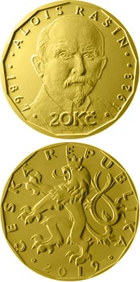 Image of 20 koruna coin - Alois Rašín | Czech Republic 2019.  The Brass coin is of UNC quality.