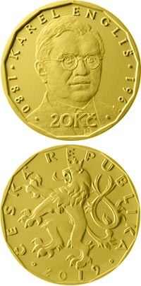 Image of 20 koruna coin – Karel Engliš | Czech Republic 2019.  The Brass coin is of UNC quality.