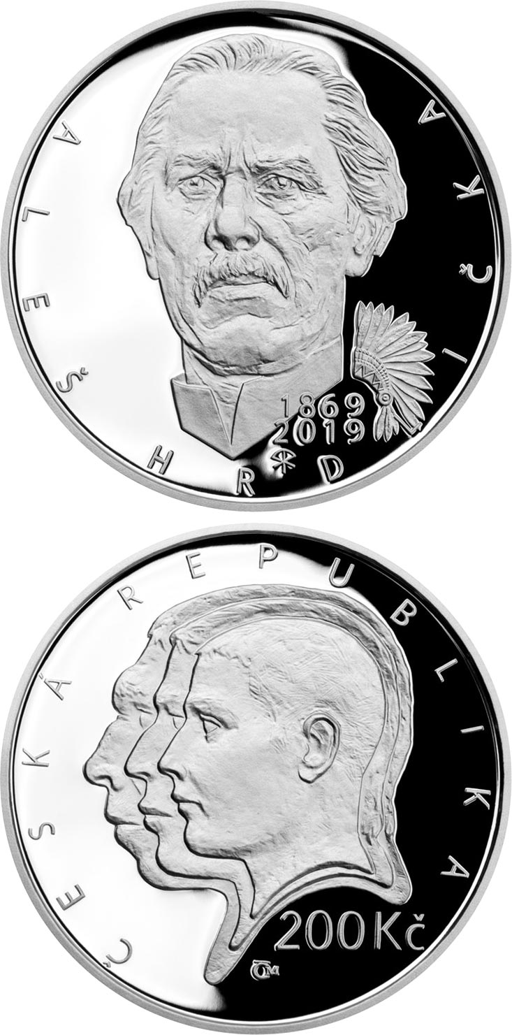 Image of 200 koruna coin - Aleš Hrdlička | Czech Republic 2019.  The Silver coin is of Proof, BU quality.