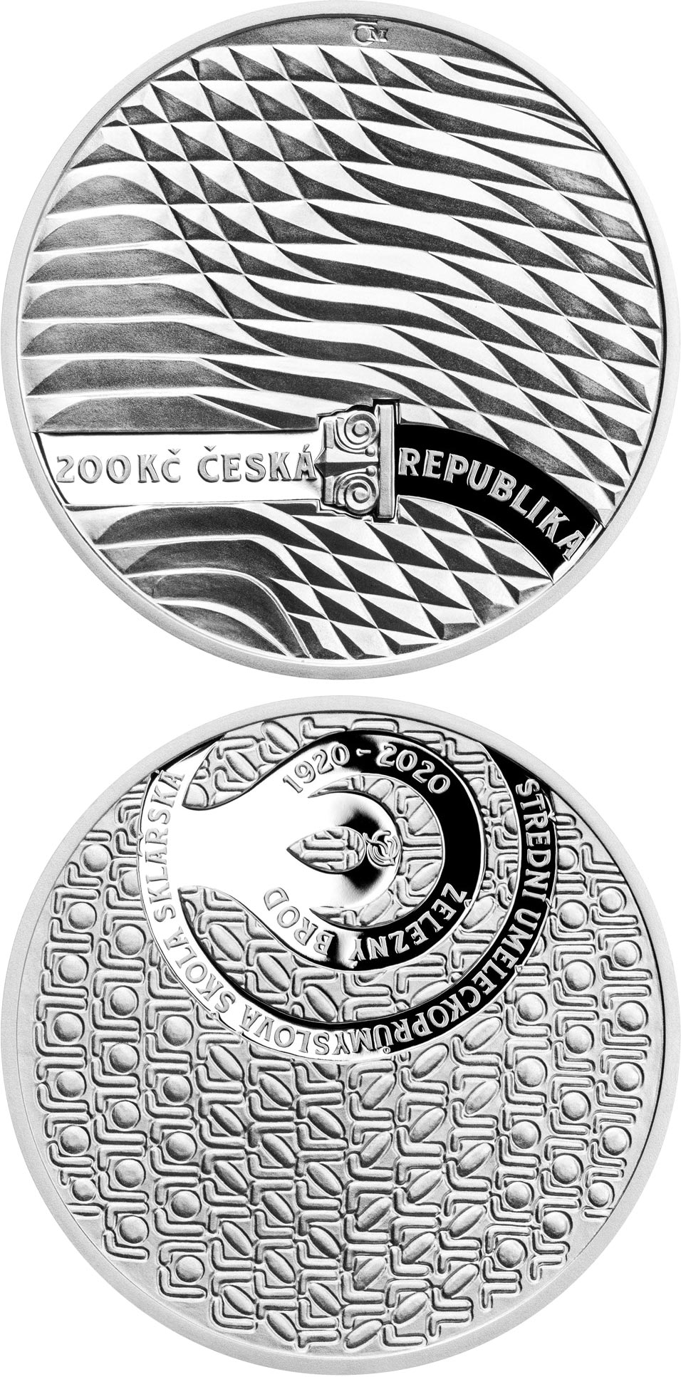 Image of 200 koruna coin - Foundation of the High School of Applied Arts for Glassmaking in Železný Brod | Czech Republic 2020.  The Silver coin is of Proof, BU quality.