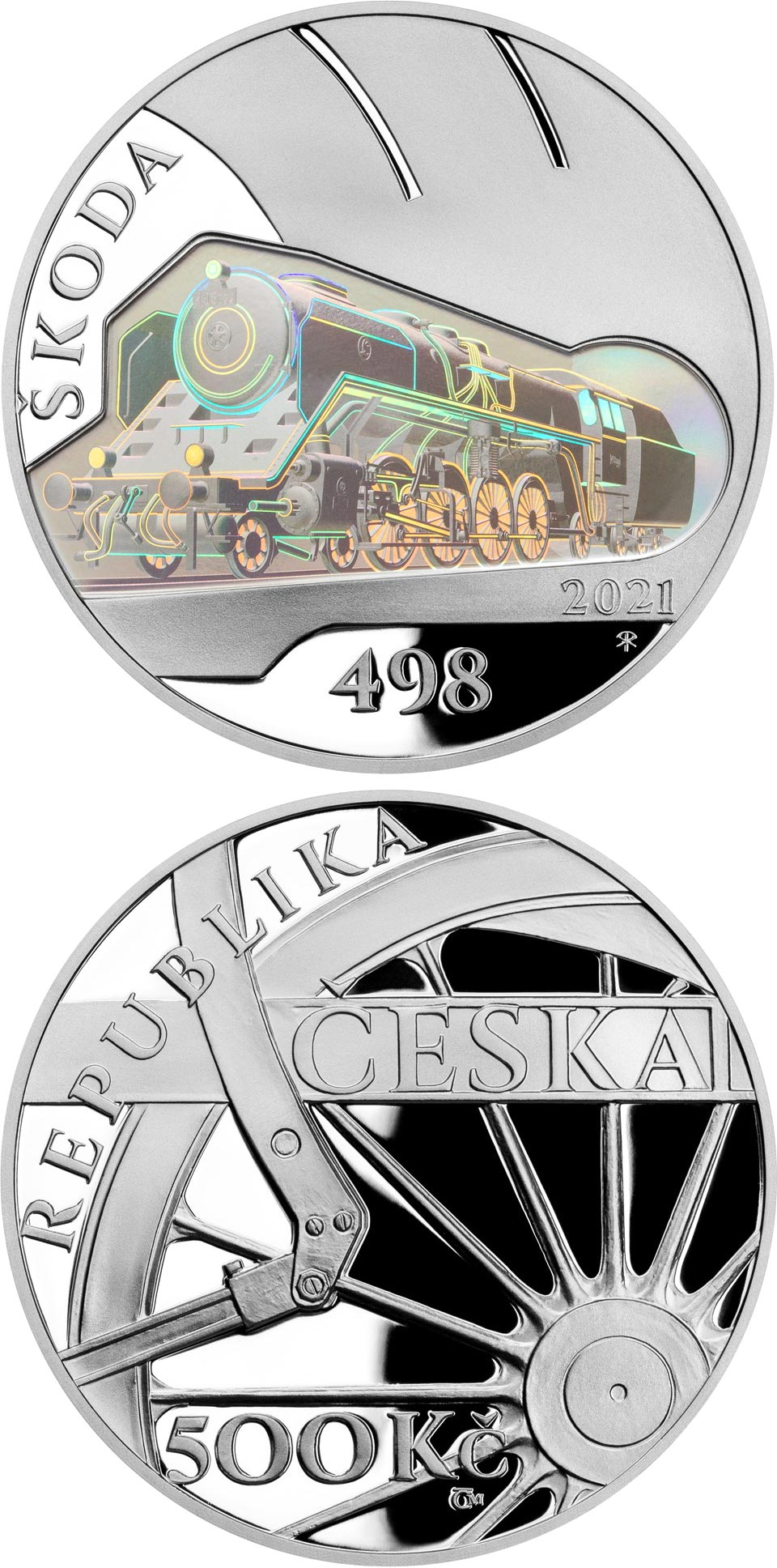Image of 500 koruna coin - Škoda 498 Albatros steam locomotive | Czech Republic 2021.  The Silver coin is of Proof, BU quality.
