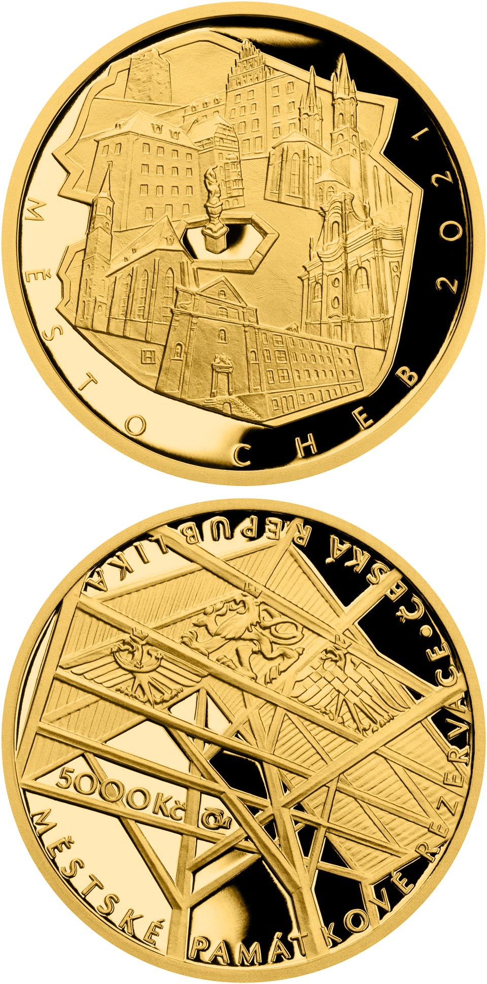 Image of 5000 koruna coin - Cheb | Czech Republic 2021.  The Gold coin is of Proof, BU quality.
