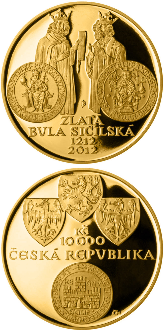 Image of 10000 koruna coin - Golden Bull of Sicily | Czech Republic 2012.  The Gold coin is of Proof, BU quality.