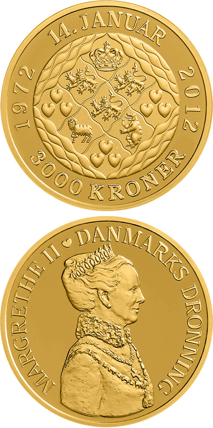Image of 3000 krone coin - Queen Margrethe's 40th jubilee | Denmark 2012.  The Gold coin is of Proof quality.