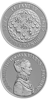 500 krone coin Queen Margrethe's 40th jubilee | Denmark 2012