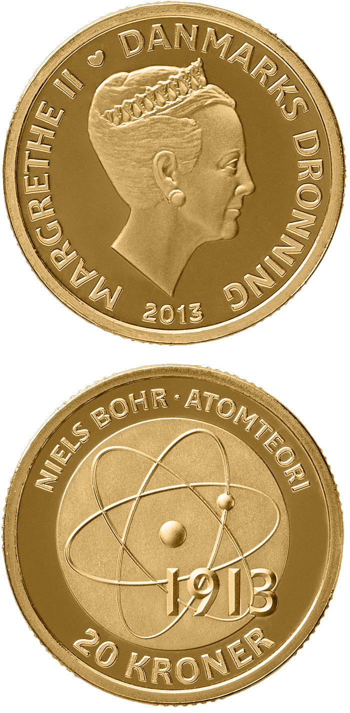 Image of 20 krone coin - Niels Bohr - Atomic model | Denmark 2013