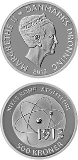500 krone coin Niels Bohr - Atomic model | Denmark 2013