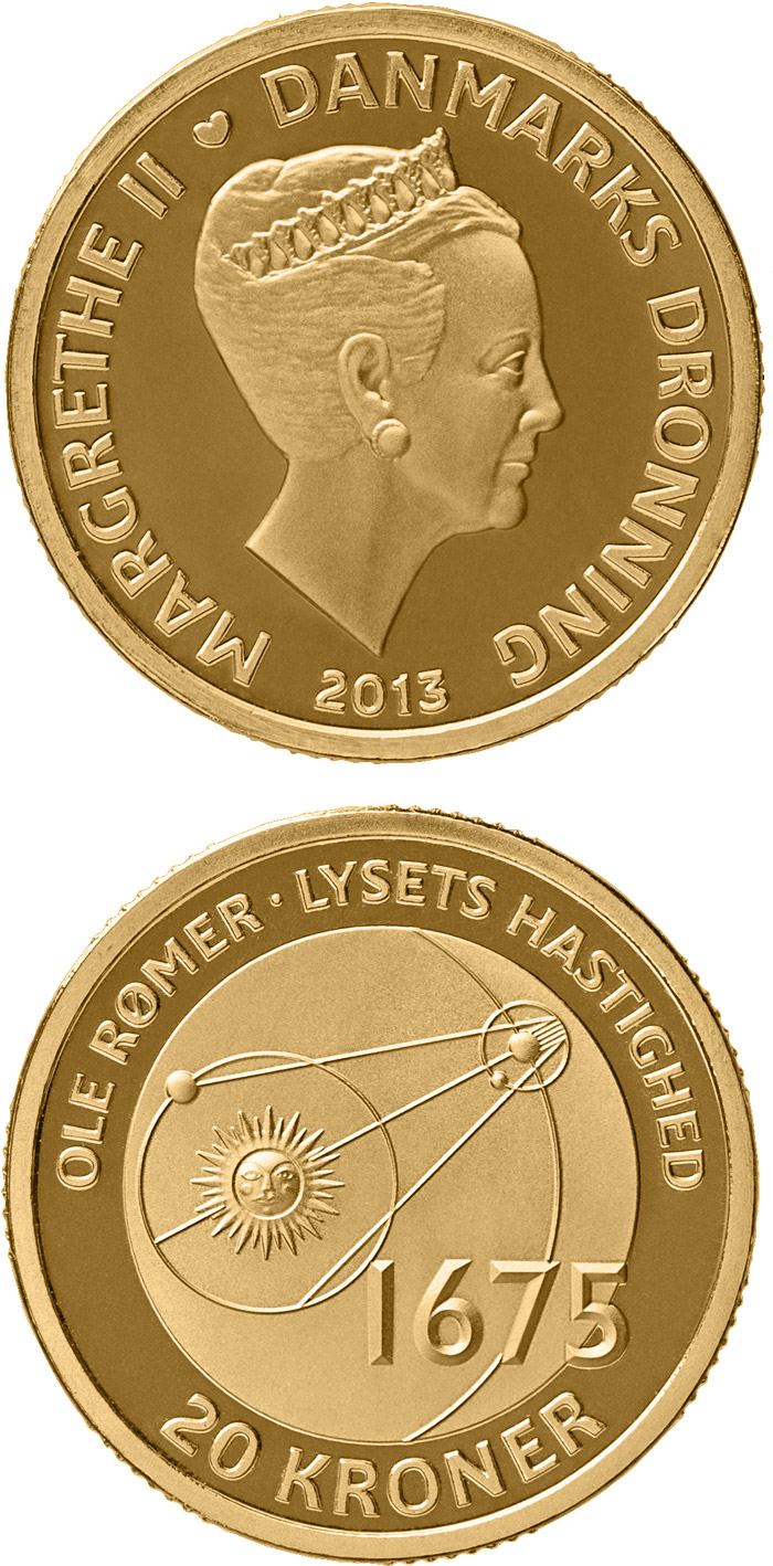 Image of 20 krone coin - Ole Rømer - The speed of light | Denmark 2013
