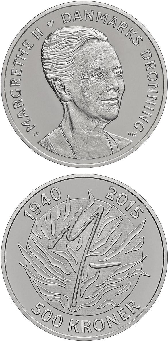 Image of 500 krone coin - Queen Margrethe II´s 75th birthday | Denmark 2015.  The Silver coin is of Proof quality.