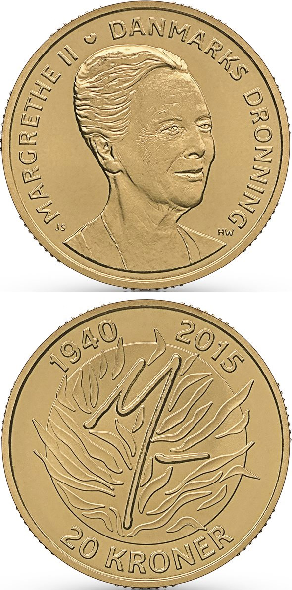 Image of Queen Margrethe II´s 75th birthday – 20 krone coin Denmark 2015.  The Copper–Nickel (CuNi) coin is of UNC quality.