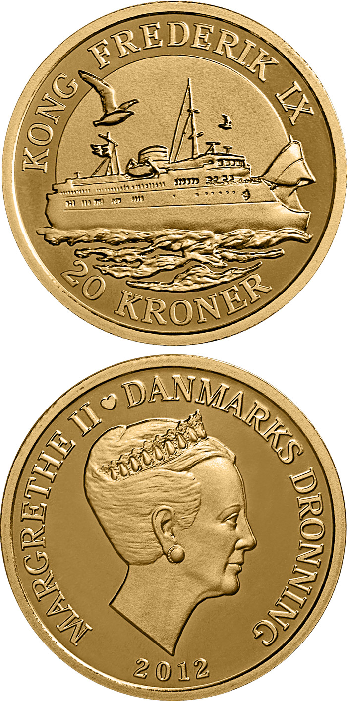 Image of 20 krone coin - Kong Frederik IX | Denmark 2012.  The Nordic gold (CuZnAl) coin is of Proof, BU, UNC quality.
