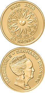 20 krone coin HM Queen Margrethe II´s 80th birthday | Denmark 2020