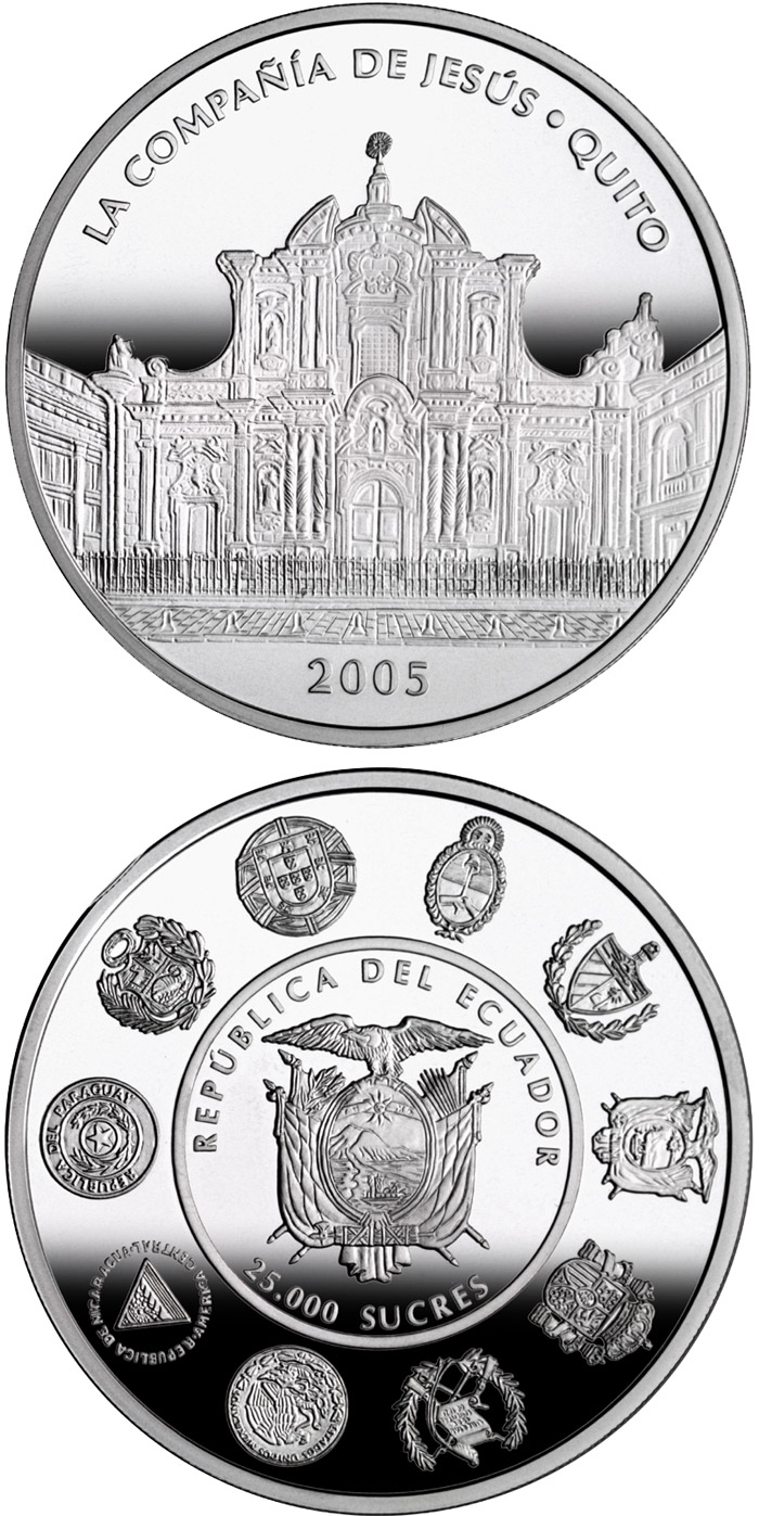 Image of 1 sucre coin - Architecture and Monuments – The Church of the Society of Jesus | Ecuador 2005.  The Silver coin is of Proof quality.