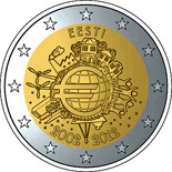 2 euro coin Ten years of Euro  | Estonia 2012