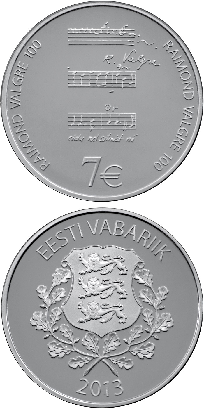 Image of 7 euro coin – 100th Anniversary of the Birth of Raimond Valgre | Estonia 2013.  The Silver coin is of Proof quality.