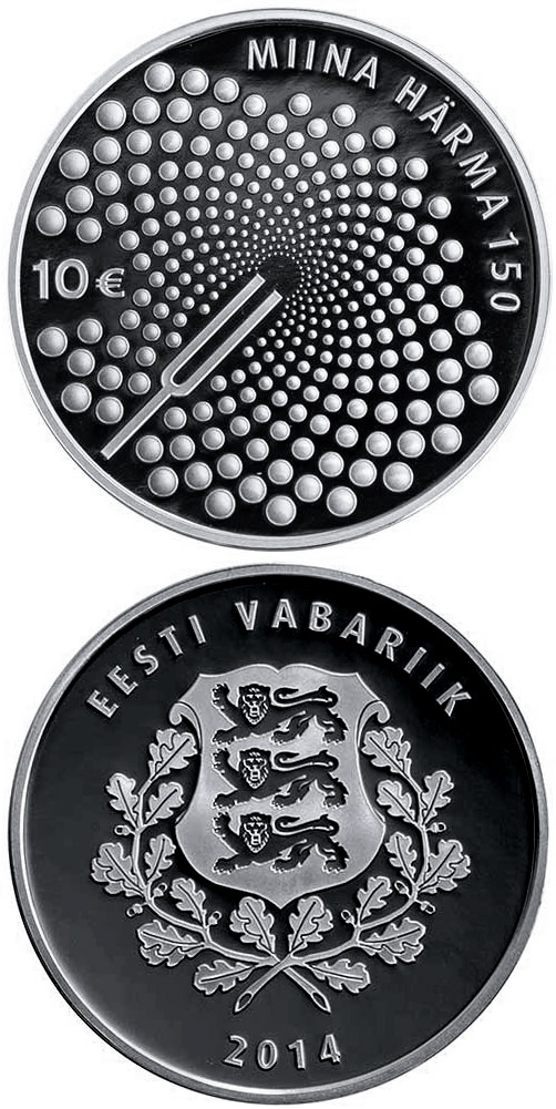 Image of 10 euro coin - The Work of Miina Härma | Estonia 2014.  The Silver coin is of Proof quality.