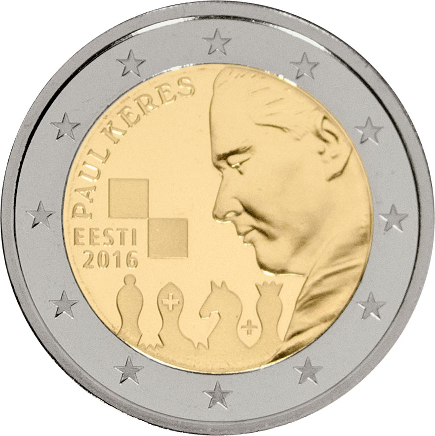 Image of 2 euro coin – 100th Anniversary of the Birth of Paul Keres | Estonia 2016