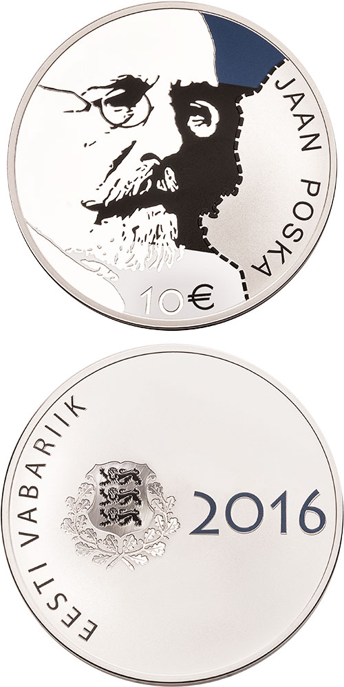 Image of 10 euro coin - 150th Anniversary of the Birth of Jaan Posk | Estonia 2016.  The Silver coin is of Proof quality.
