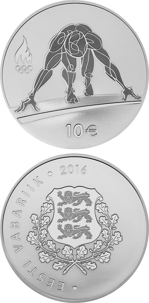 Image of 10 euro coin – XXXI Olympic Summer games | Estonia 2016.  The Silver coin is of Proof quality.