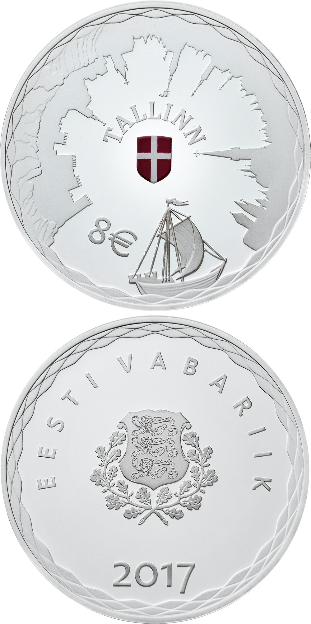 Image of 8 euro coin - Hanseatic Tallinn | Estonia 2017.  The Silver coin is of Proof quality.