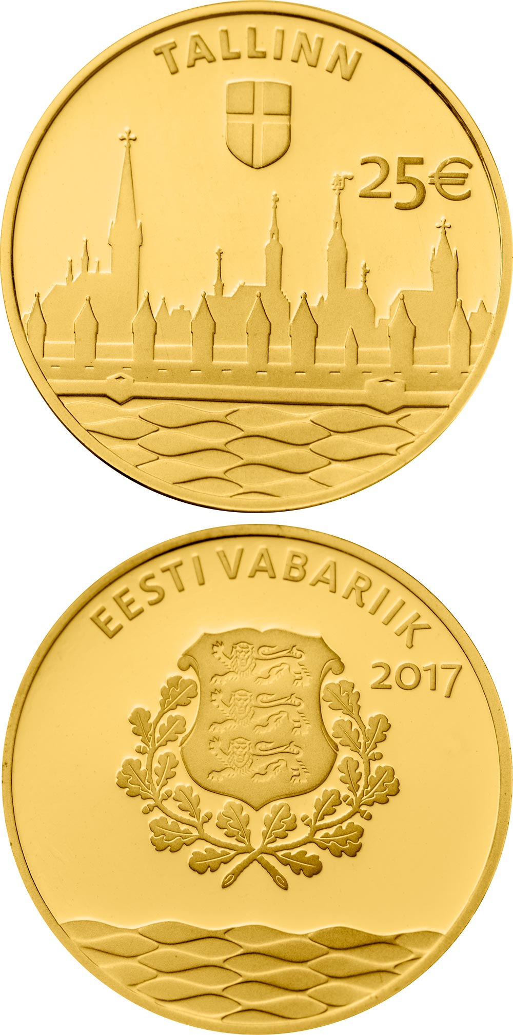 Image of 25 euro coin – Hanseatic Tallinn | Estonia 2017.  The Gold coin is of Proof quality.