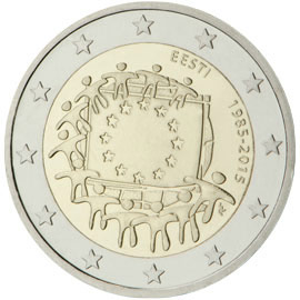 Image of 2 euro coin - The 30th anniversary of the EU flag | Estonia 2015