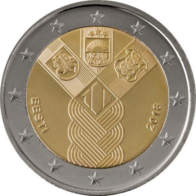 Image of 2 euro coin – 100th Anniversary of the Baltic States | Estonia 2018