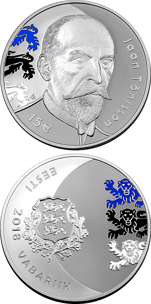 Image of 15 euro coin – 150th anniversary of the birth of Jaan Tõnisson | Estonia 2018.  The Silver coin is of Proof quality.