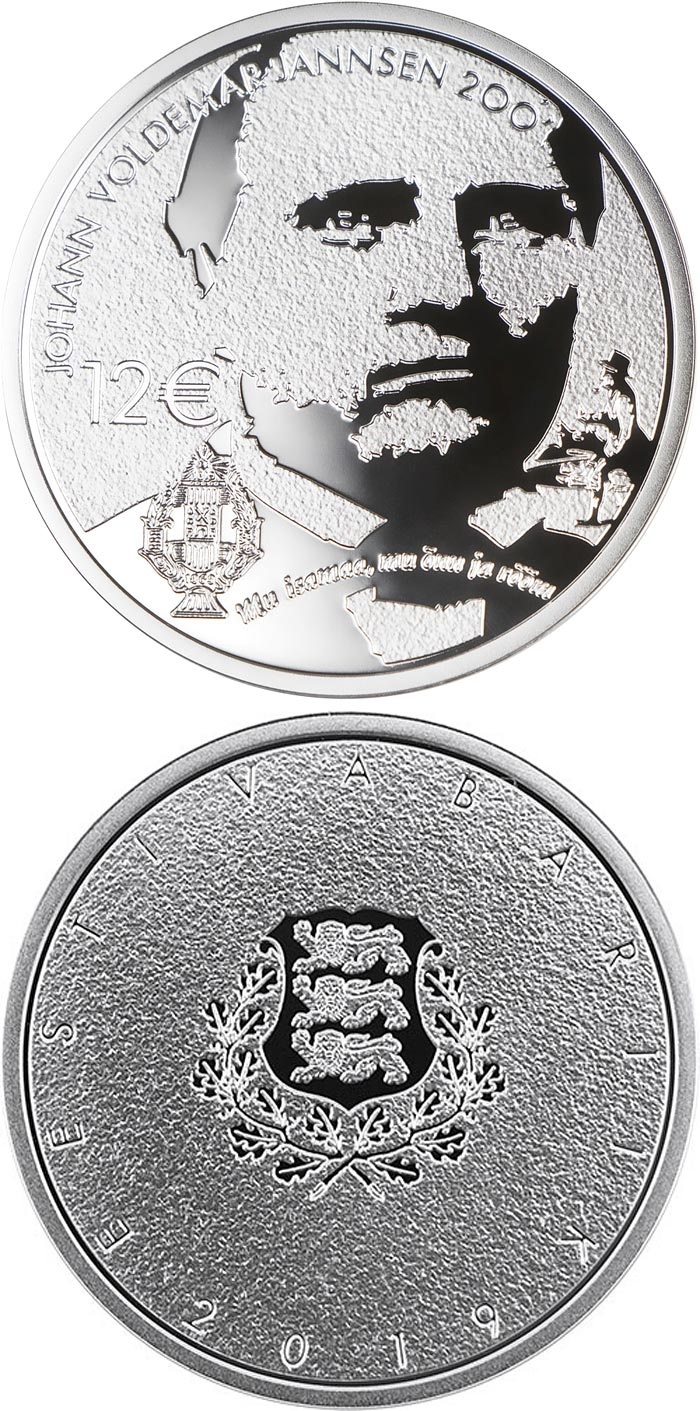 Image of 12 euro coin – 200th anniversary of the birth of Johann Voldemar Jannsen | Estonia 2019.  The Silver coin is of Proof quality.