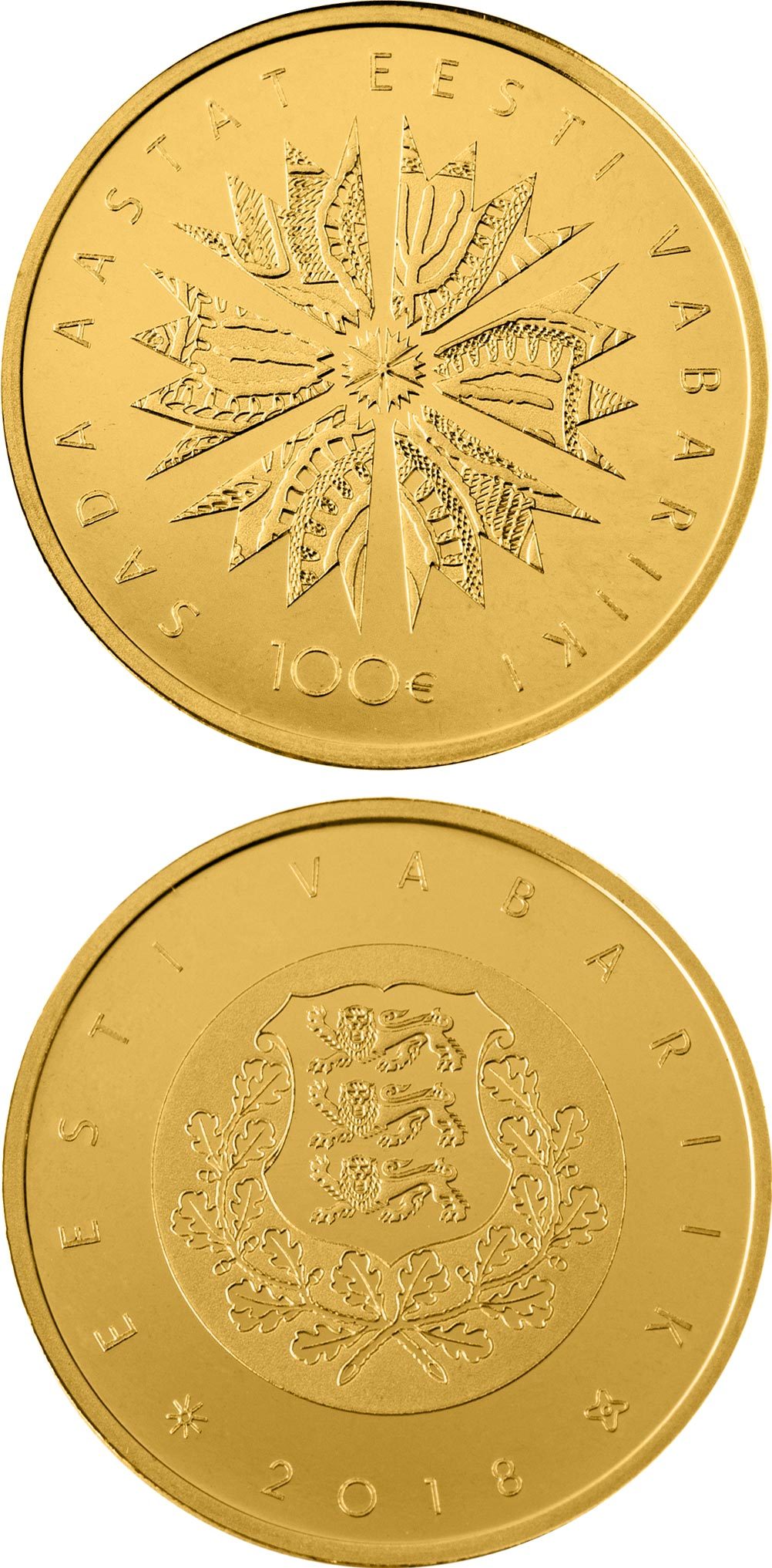 Image of 100 euro coin - 100th Anniversary of the Republic of Estonia | Estonia 2018.  The Gold coin is of Proof quality.