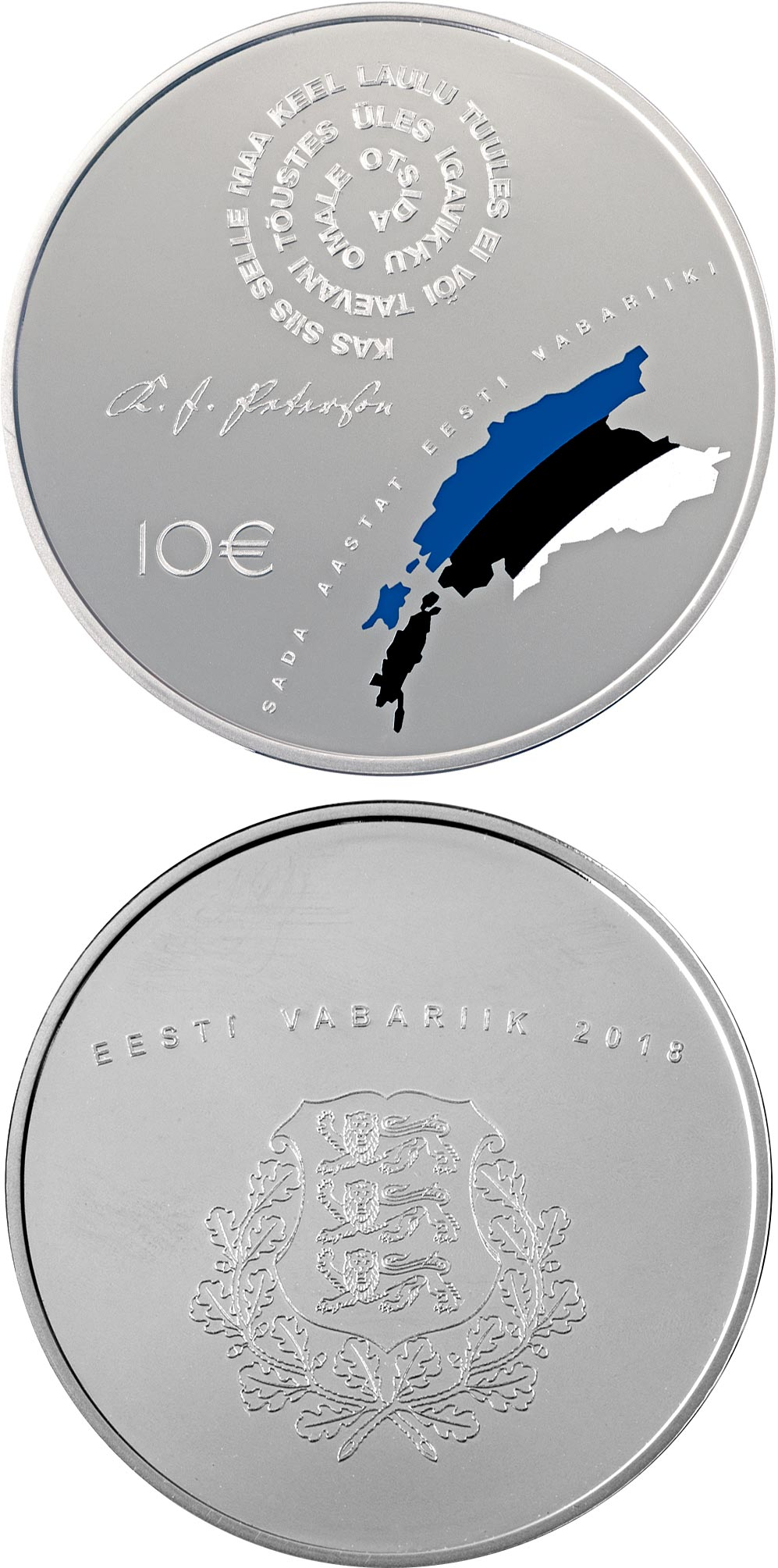 Image of 10 euro coin - 100th Anniversary of the Republic of Estonia | Estonia 2018.  The Silver coin is of Proof quality.