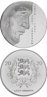 15 euro coin 150th anniversary of the birth of Jüri Jaakson | Estonia 2020