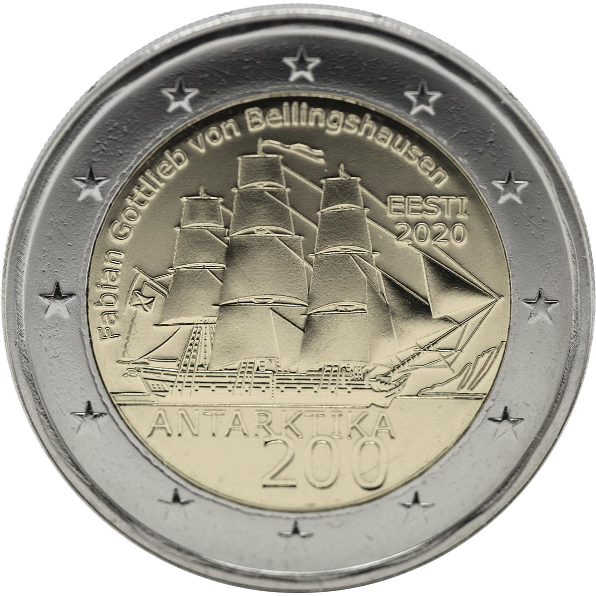 Image of 2 euro coin - 200th Anniversary of the First Antarctic Expedition | Estonia 2020