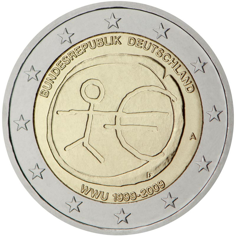 Image of 2 euro coin - 10th Anniversary of the Introduction of the Euro | Eurozone 2009