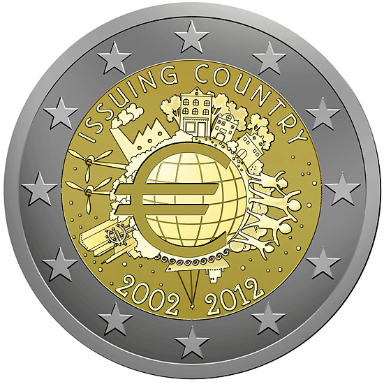 Image of 2 euro coin – Ten years of euro  | Eurozone 2012