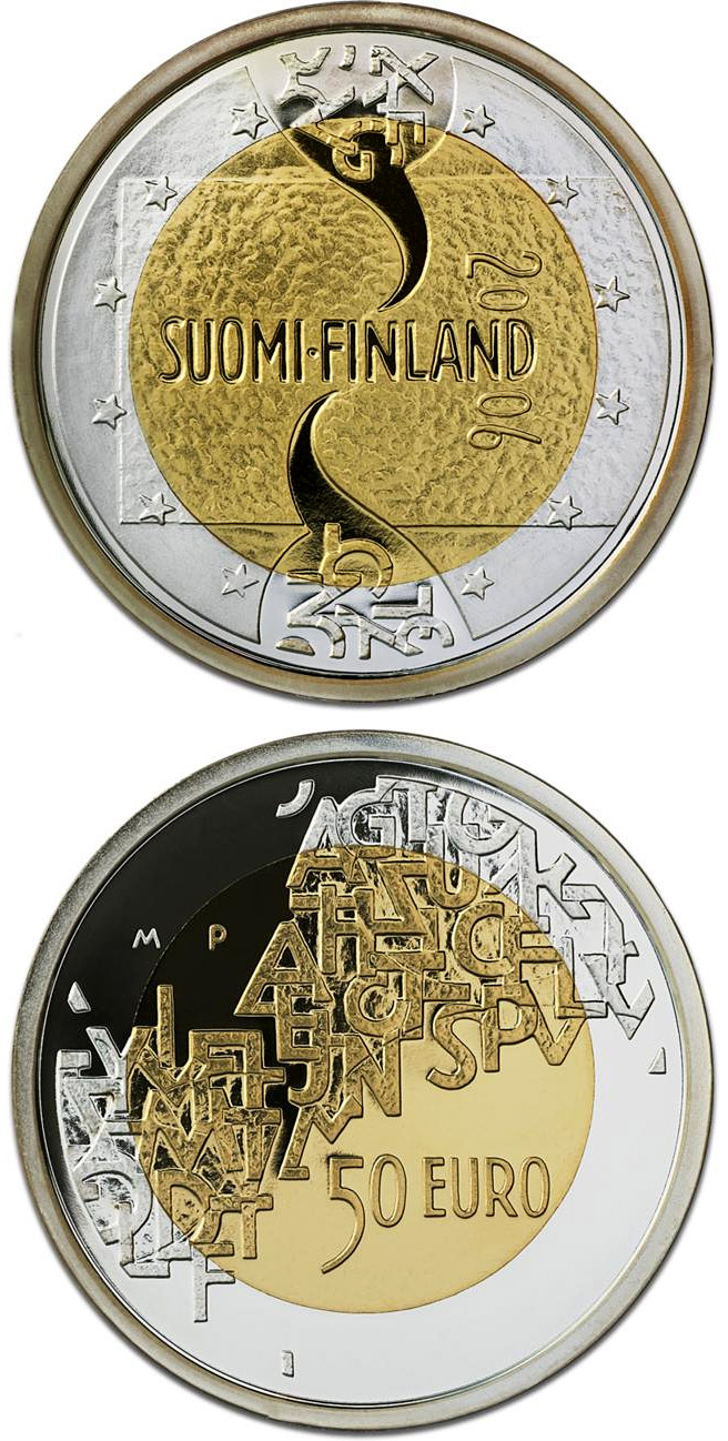 Image of 50 euro coin - Finnish EU Presidency  | Finland 2006.  The Bimetal: gold, silver coin is of Proof quality.