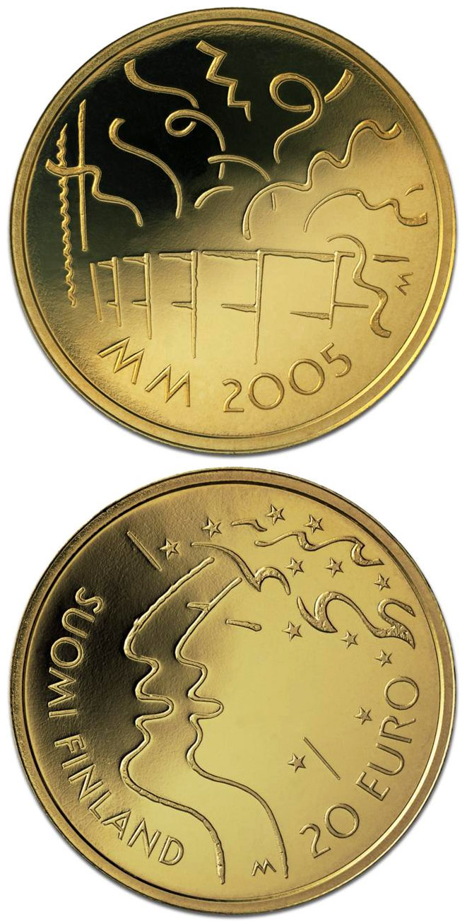 Image of 20 euro coin 10th Athletics World Championships in Helsinki  | Finland 2005.  The Gold coin is of Proof quality.