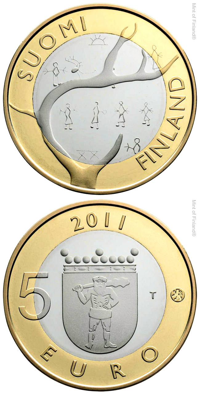 Image of 5 euro coin – Lapland Provincial Coin | Finland 2011.  The Bimetal: CuNi, nordic gold coin is of Proof, BU quality.