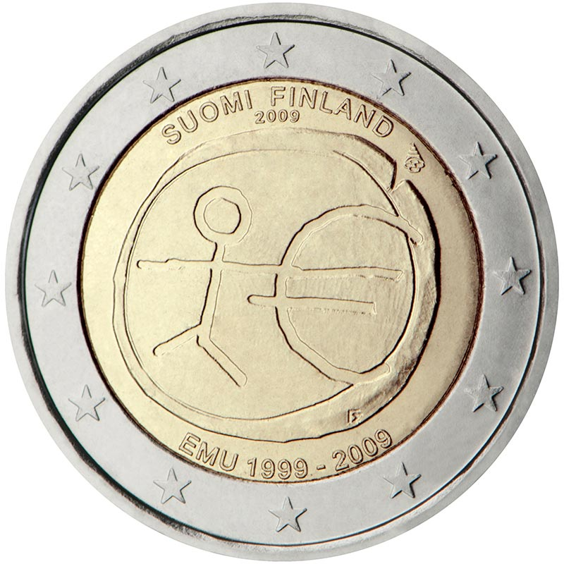 Image of a coin 2 euro | Finland | 10th Anniversary of the Introduction of the Euro | 2009