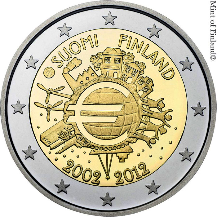 Image of 2 euro coin - Ten years of Euro  | Finland 2012