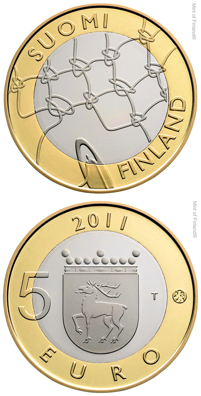 Image of 5 euro coin - Åland Provincial Coin | Finland 2011.  The Bimetal: CuNi, nordic gold coin is of Proof, BU quality.