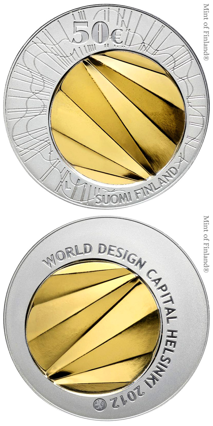 Image of World Design Capital Helsinki 2012 – 50 euro coin Finland 2012.  The Bimetal: gold, silver coin is of BU quality.