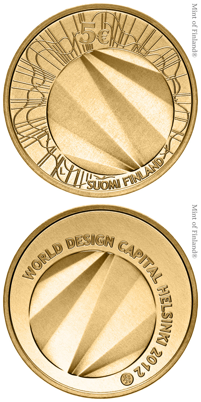 Image of 5 euro coin World Design Capital Helsinki 2012 | Finland 2012.  The Nordic gold (CuZnAl) coin is of BU quality.
